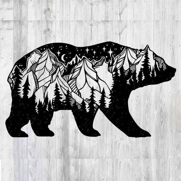 Макет панно медведь и лес