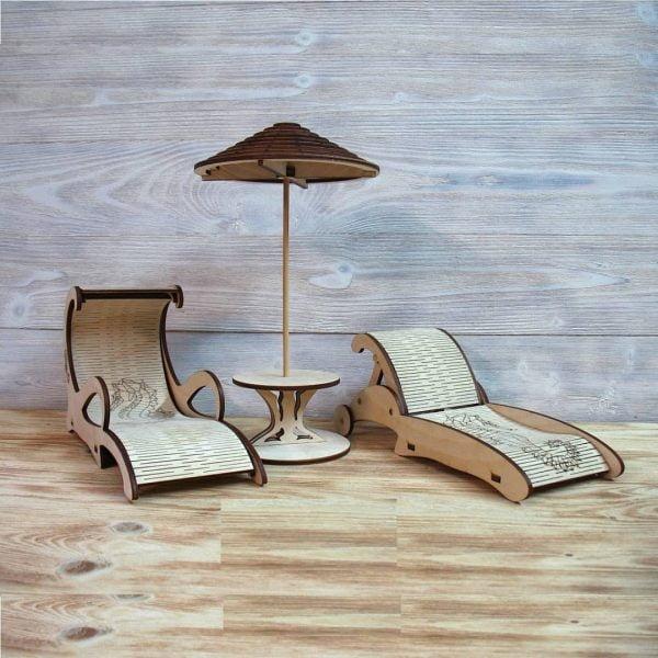 Макеты пляжной мебели для кукол