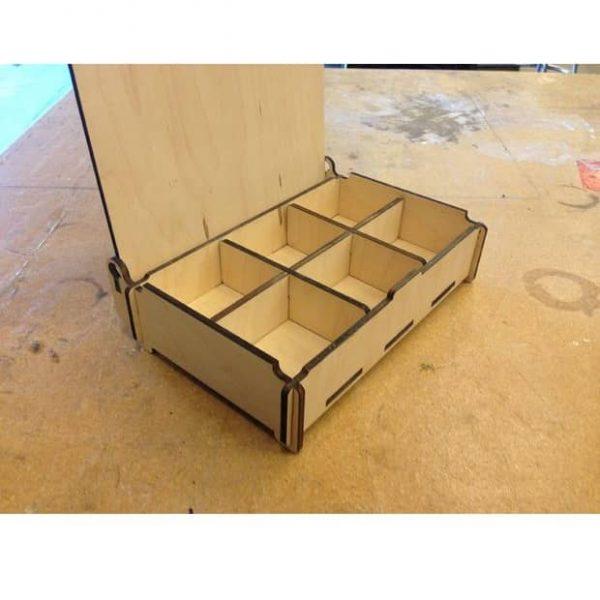 Макет прямоугольной шкатулки с 6 отсеками