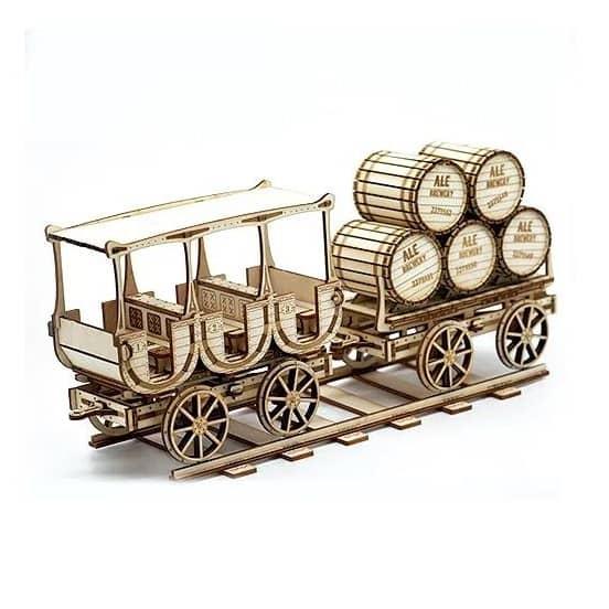 Макет ретро вагоны на рельсах