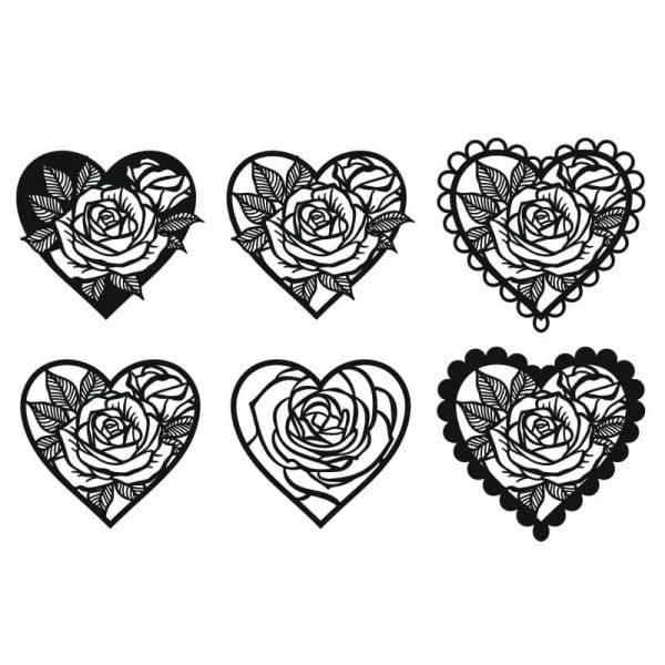 Рисунок сердца с розой внутри