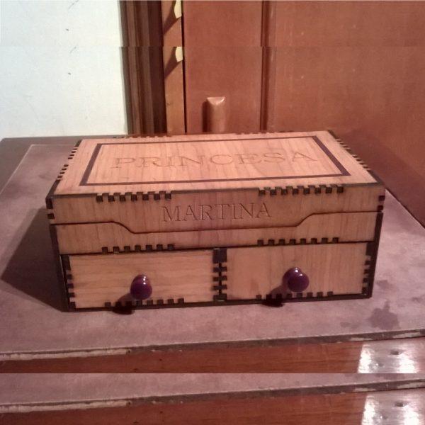 Макет шкатулки с 2 ящиками
