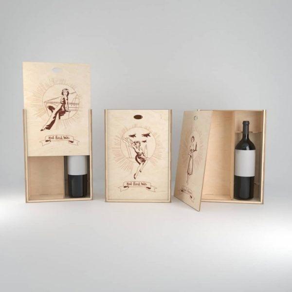 Макет упаковки для бутылок вина