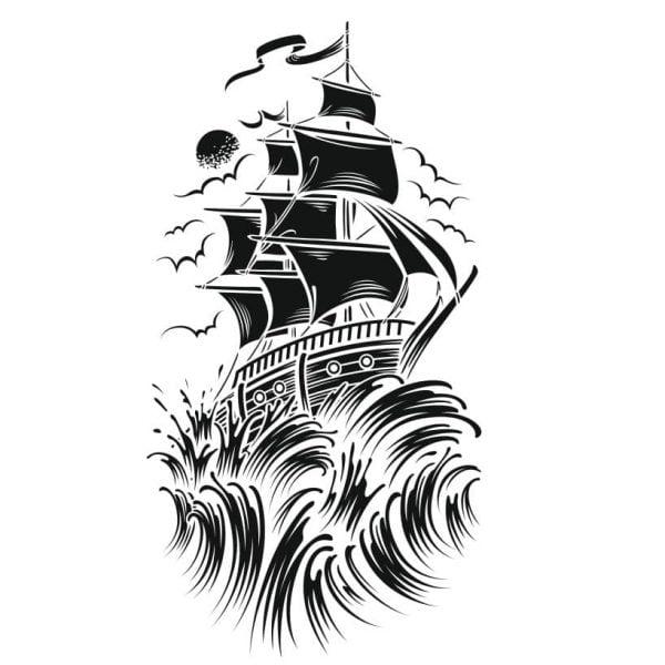 Векторный рисунок парусника в море