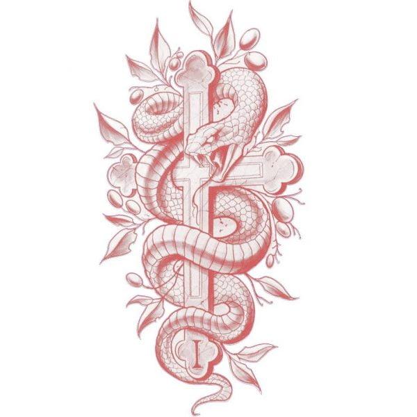 Крест и змея для гравировки