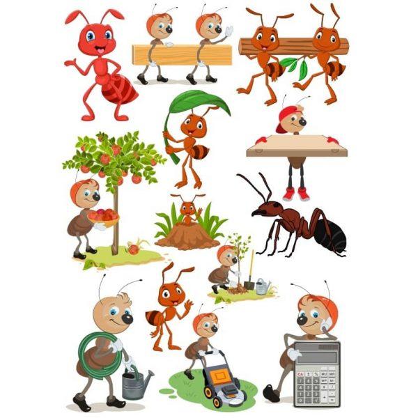 Набор рисунков муравьёв