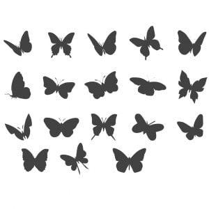 Набор силуэтов бабочек