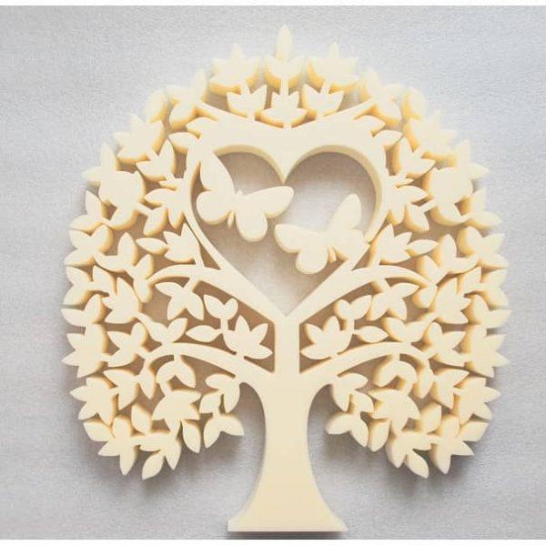 Панно дерево с бабочками в сердце