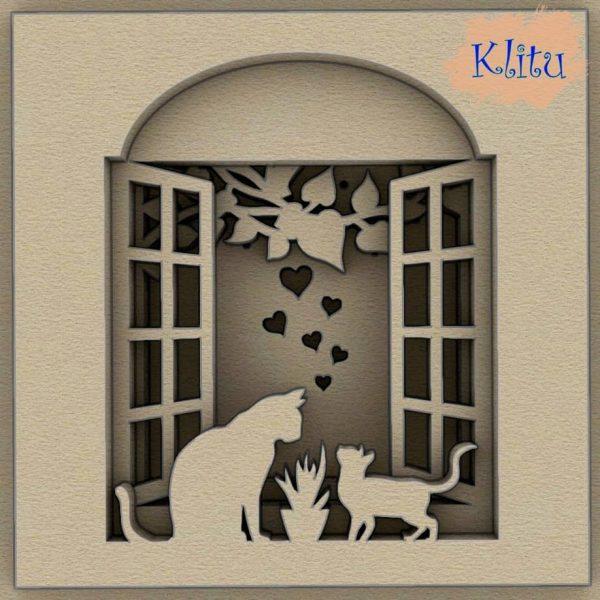 Панно кошка с котёнком на окне