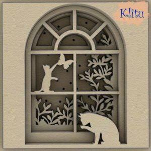 Панно многослойное кошки на окне