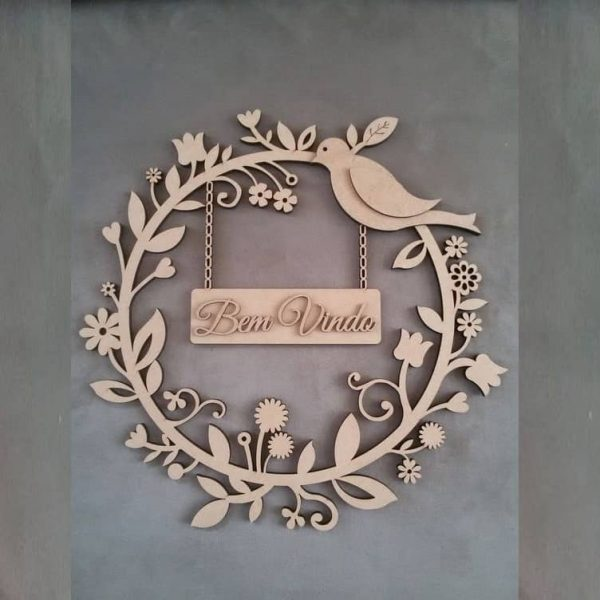 Макет панно венок птицей