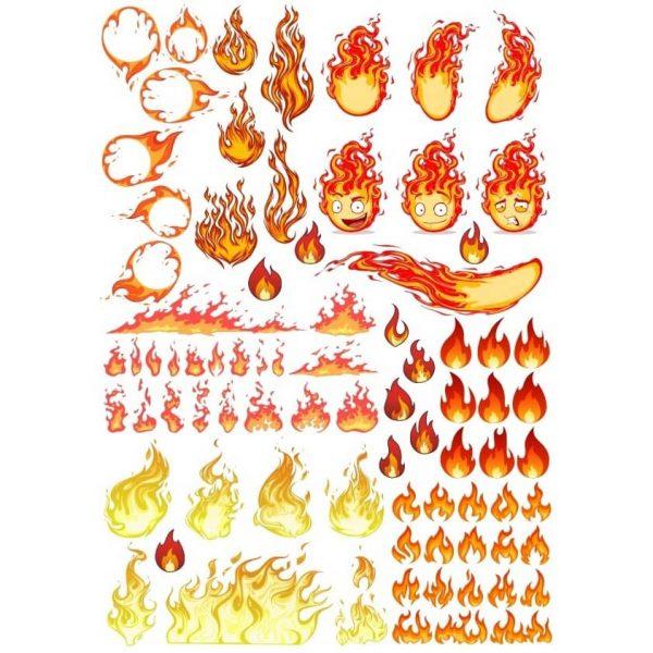 Набор рисунков пламени