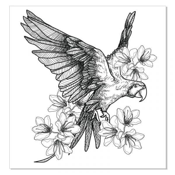 Попугай в цветах