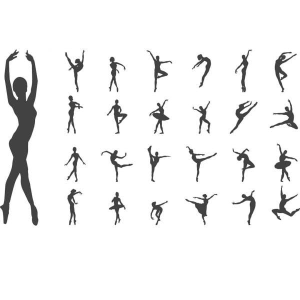 Векторные силуэты балерин