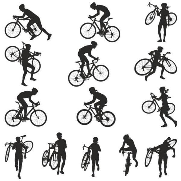 Силуэты велосипедистов