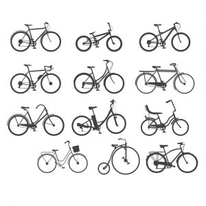 Векторные силуэты велосипедов