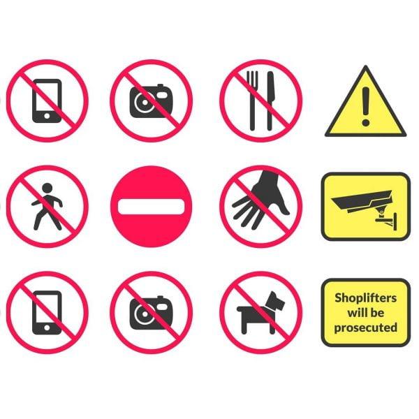 Макеты запрещающих табличек