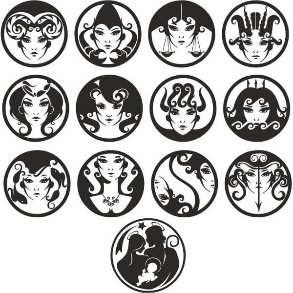 Знаки зодиака в виде женских лиц
