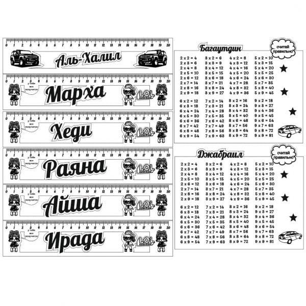Именные линейки и таблицы умножения