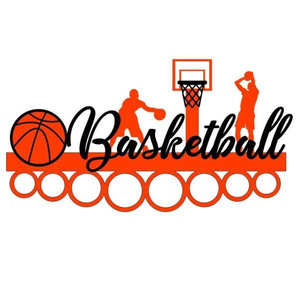Медальница баскетбол с мячом и кольцом