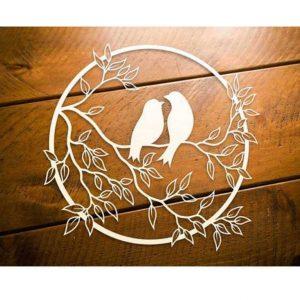 Круглое панно птицы на ветке