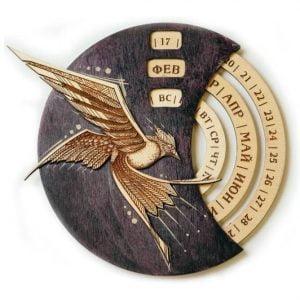 Круглый календарь птица