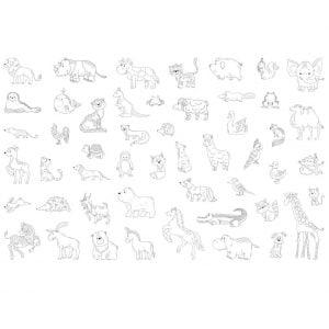 Набор рисунков животных и птиц